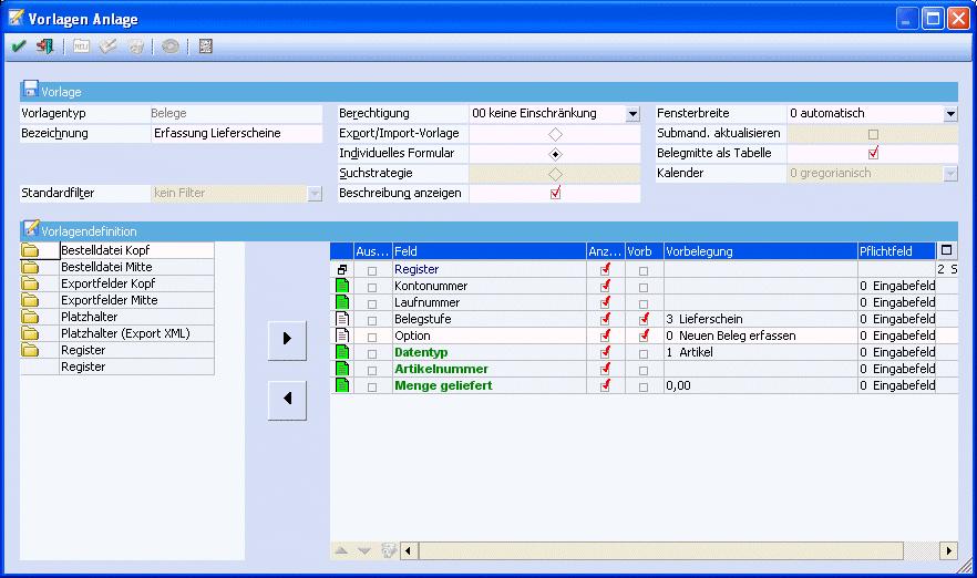 Mesonic:Bearbeiten/Belege erfassen/Anlage der Vorlage – MESOWIKI